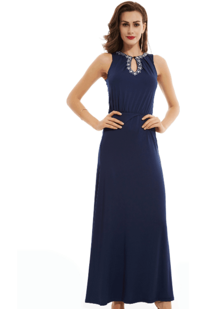 A Line Scoop With Beading Slik Evening Dresses Floor Length