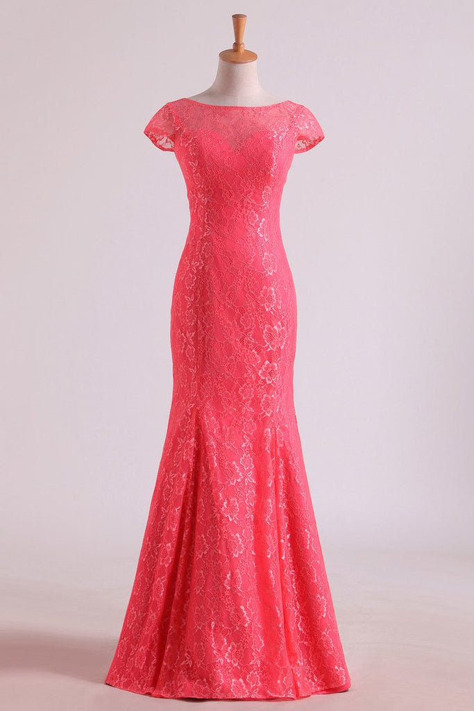 Bridesmaid Dresses Scoop Column Floor Length Lace