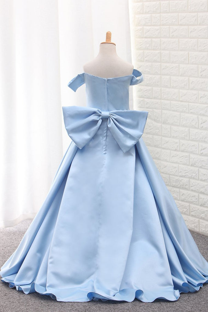 Satin A Line Off The Shoulder Asymmetrical Flower Girl Dresses With Bow Knot