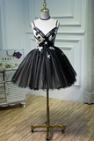 Tulle Homecoming Dresses Spaghetti Straps With Applique A Line