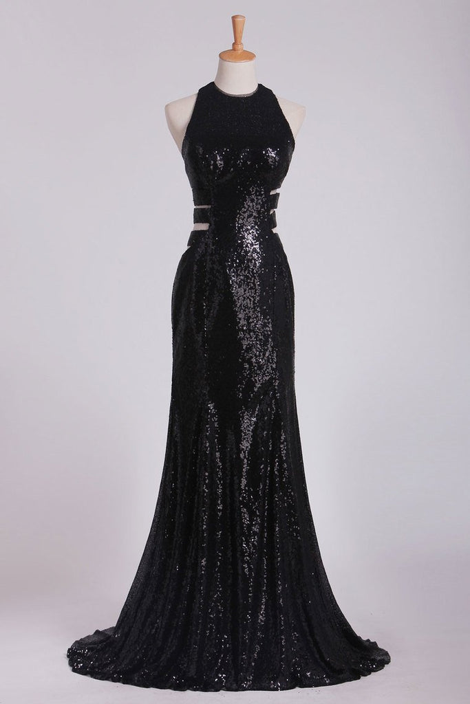Column Prom Dresses Scoop Floor Length Sequined Bodice Open Back