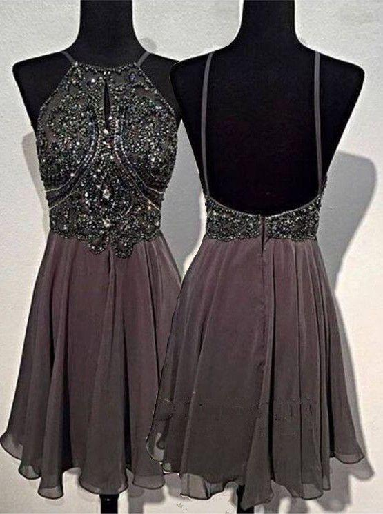 A-line Round Neck Chiffon Beaded Grey Backless Homecoming Dress JS535