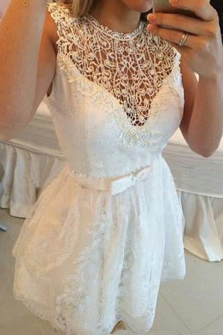 A-line Hot-selling Mini Lace Hollow Homecoming Dresses JS469