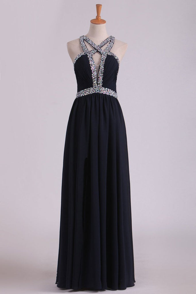 Sexy Open Back A Line Prom Dresses Chiffon With Beads And Slit