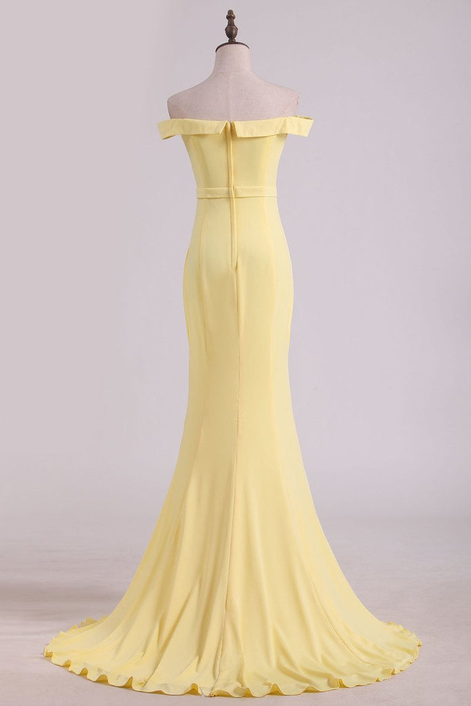 New Arrival Mermaid Boat Neck Evening Dresses Spandex Floor Length