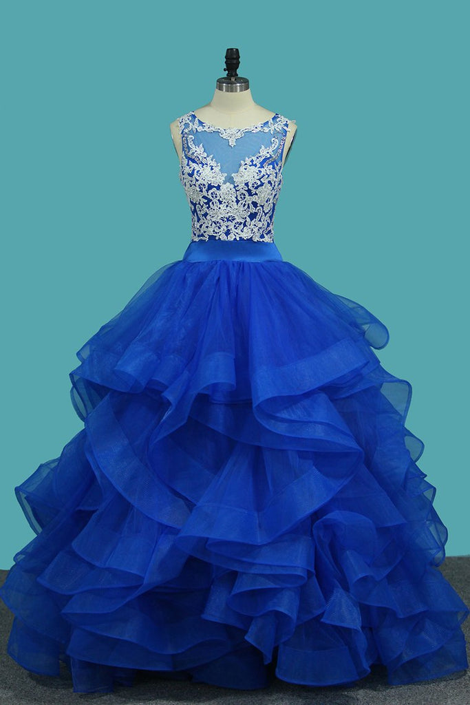 Tulle Scoop A Line With Applique Floor Length Prom Dresses