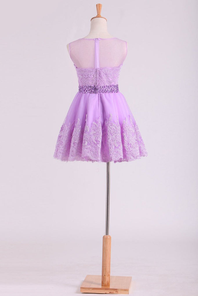 Scoop Tulle Homecoming Dresses A-Line  With Applique Short/Mini