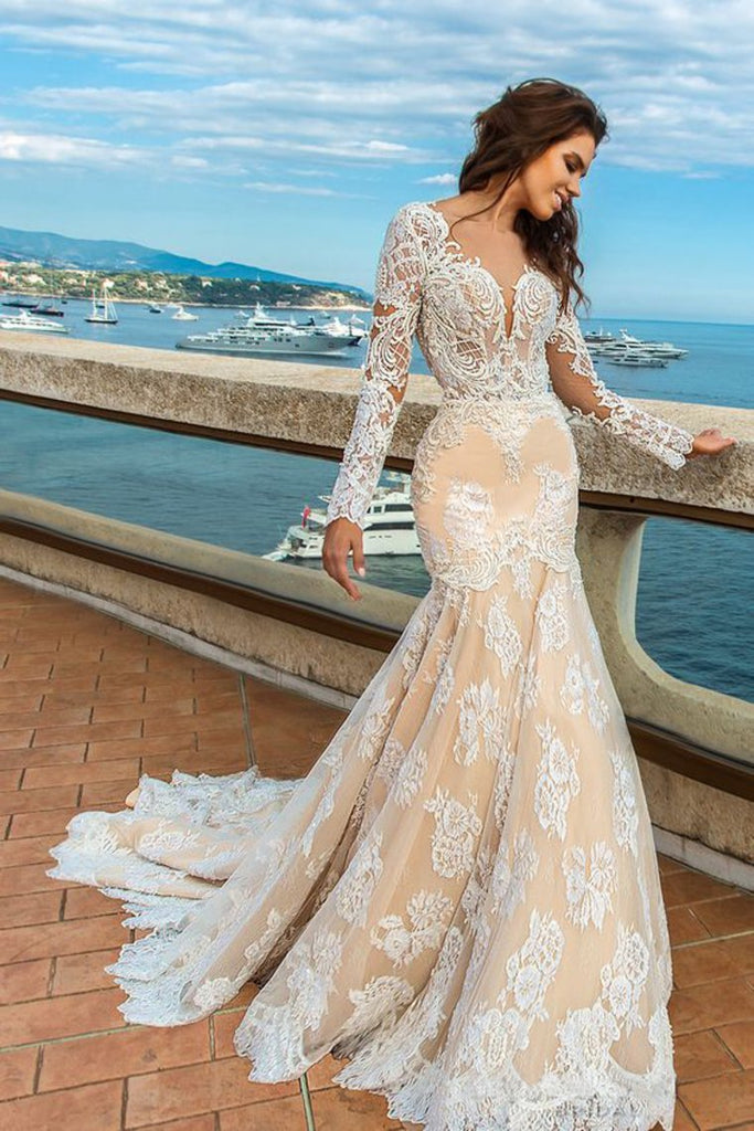 Scoop Long Sleeves With Applique Mermaid Wedding Dresses