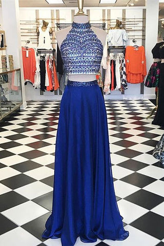 Navy blue chiffon A-line beaded long two pieces handmade prom dress sequins evening dress