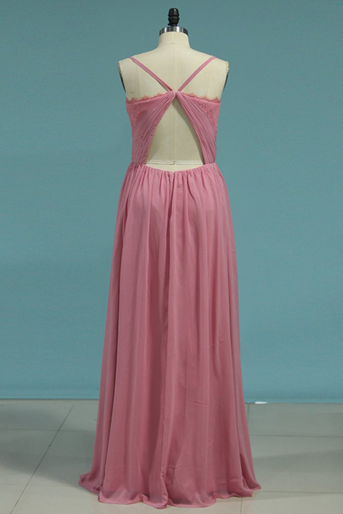A Line Bridesmaid Dresses Spanghetti Straps Chiffon Floor Length