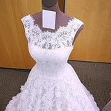 Chic Romantic Open Back A line Short Train Lace Ivory Long Wedding Dresses JS149