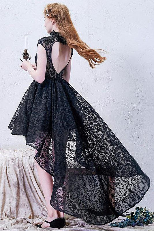 A-line High Neck Asymmetrical Lace Black Open Back High Low Modern Prom Dresses JS778