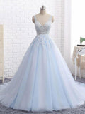 Sexy Ball Gown Tulle Sky Blue V-neck Appliques Brush Train Long Sleeveless Prom Dresses UK JS505