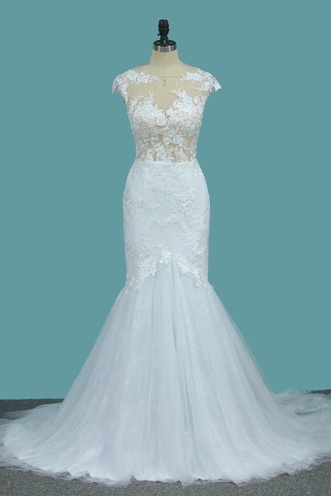 Scoop Tulle Mermaid Wedding Dresses With Applique Sweep Train Open Back