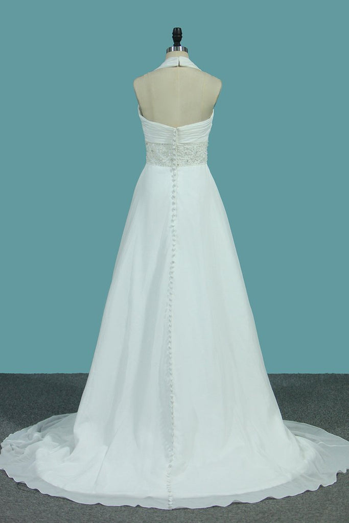 A Line Chiffon Wedding Dresses With Beading & Sequince Court Train