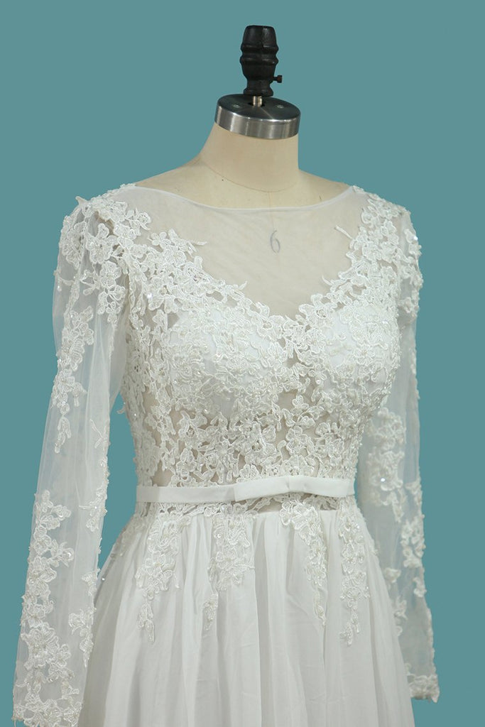 Long Sleeves A Line Scoop Wedding Dresses With Applique And Sash