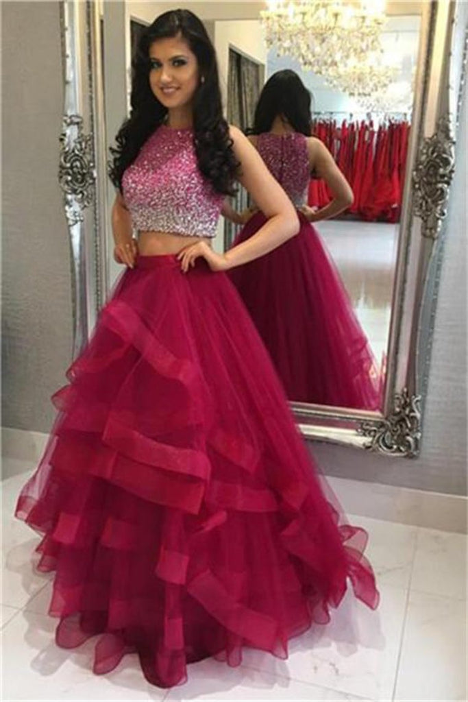 Modest 2 Pieces Beading Tulle Red Long Prom Dresses Party Dresses