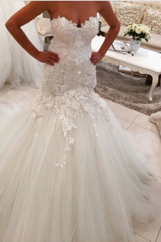 2019 Sweetheart Wedding Dresses Tulle Mermaid/Trumpet With Applique