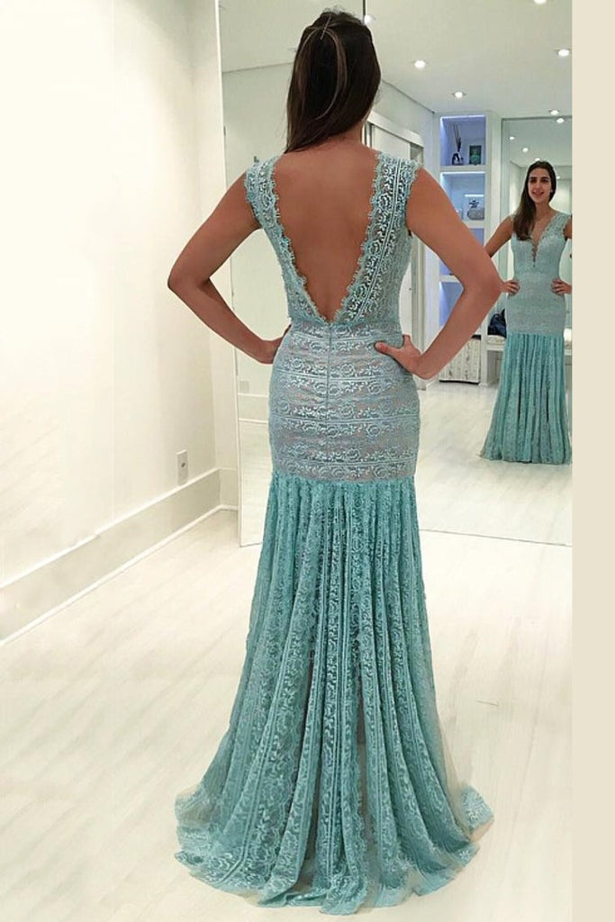 New Arrival V Neck Lace Mermaid Prom Dresses Sweep Train