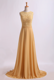 Exquisite Prom Dresses Scoop A Line Lace & Chiffon