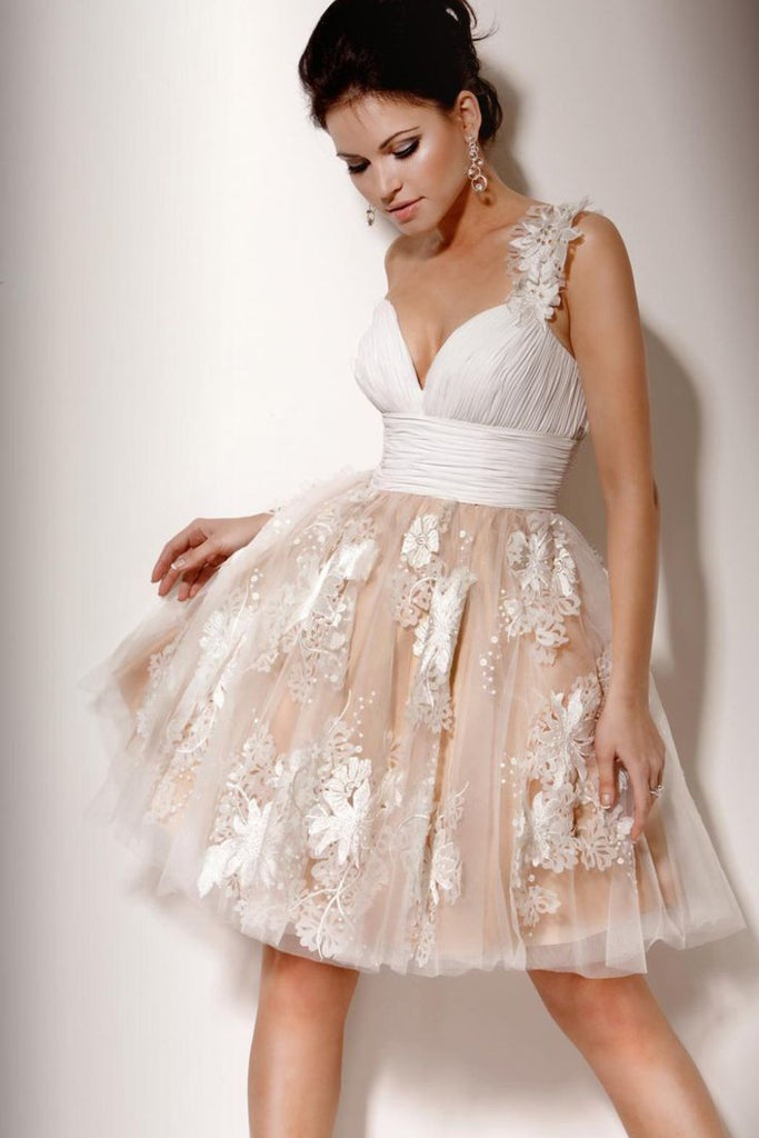 One Shoulder Homecoming Dresses Tulle With Applique And Ruffles Knee Length