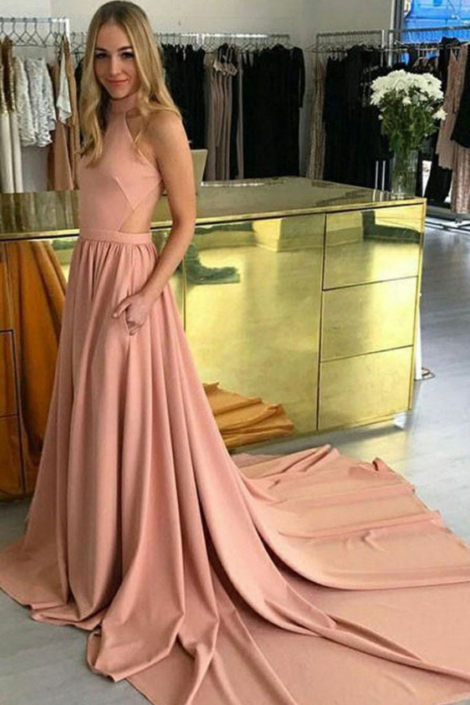 Modest Pink Long Open Back Simple Cheap Elegant Prom Dresses Evening Dresses