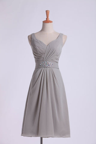 Bridesmaid Dresses V Neck Princess Short/Mini With Ruffles And Beads Chiffon