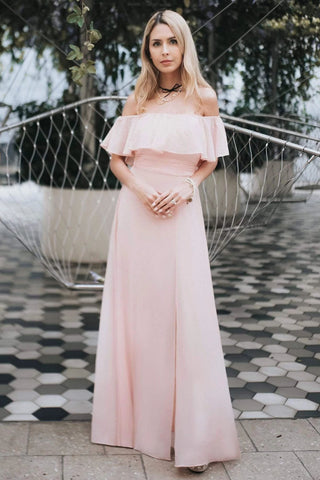 Charming Off Shoulder Ruffle Pink Chiffon Long Prom Dresses Bridesmaid Dresses SJS15114