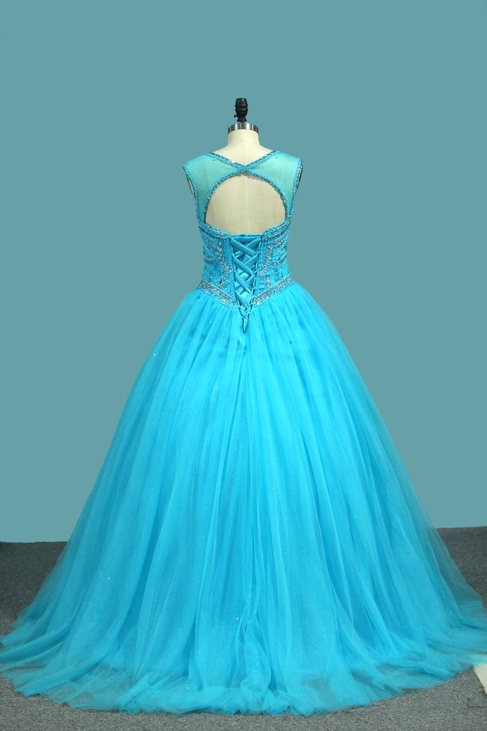 Ball Gown Tulle Scoop Quinceanera Dresses Beaded Bodice Court Train