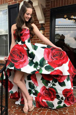 A Line Strapless High Low Red Rose Floral Satin Prom Dresses, Long Evening Dress SJS15556