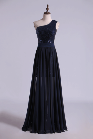 Prom Dresses Column High Low One Shoulder Chiffon Beading