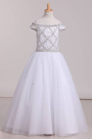 2019 Floor Length Boat Neck Beaded Bodice Flower Girl Dresses Tulle Lace Up