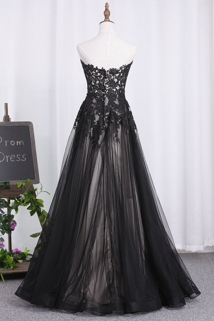 Sweetheart A Line Black Prom Dresses Tulle With Applique Floor Length