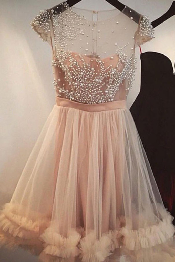 Scoop Short Sleeves Homecoming Dresses A Line Tulle With Beading