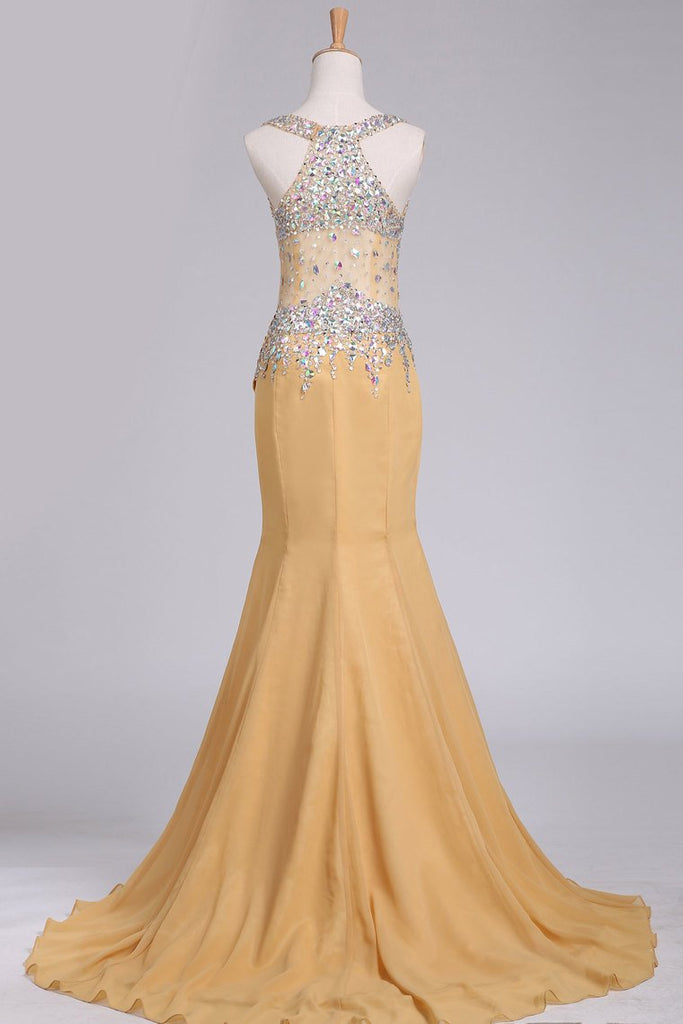 New Arrival Chiffon Prom Dresses Straps With Beading Sweep Train Mermaid