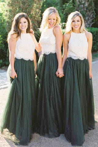 2 Pieces Ivory And Green Long Lace Tulle Beautiful Simple Bridesmaid Dresses
