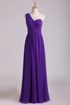 One Shoulder Pleated Bodice Lace Back A Line Evening Dress Full Length Chiffon
