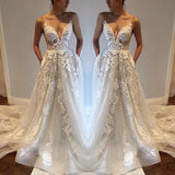 A Line Spaghetti Straps Deep V Neck Ivory with Pockets Tulle Open Back Wedding Dresses JS110