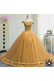 Off The Shoulder Ball Gown Quinceanera Dresses Tulle With Handmade Flower