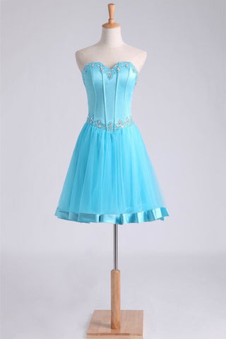 Homecoming Dresses Sweetheart A Line Short/Mini Beaded Neckline And Waistline Satin&Tulle