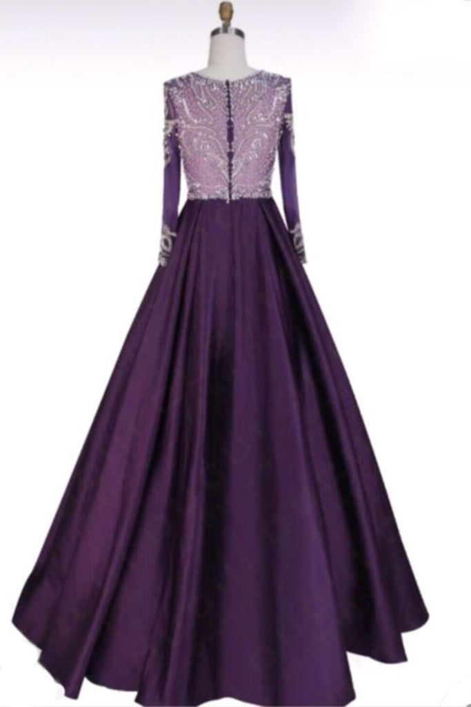 Long Sleeves Scoop Beaded Bodice Taffeta A Line  Prom Dresses