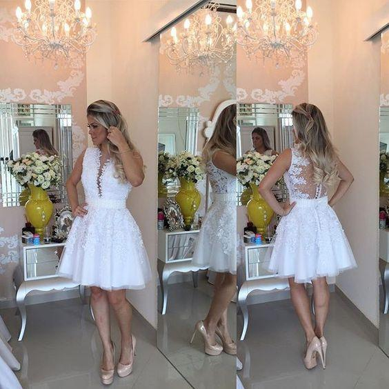 A-line Hot-selling Deep V-Neck White Lace Short Homecoming Dresses JS468