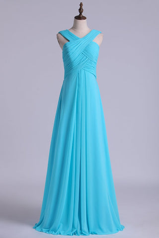 2019 V-Neck Bridesmaid Dresses A-Line With Long Chiffon Skirt