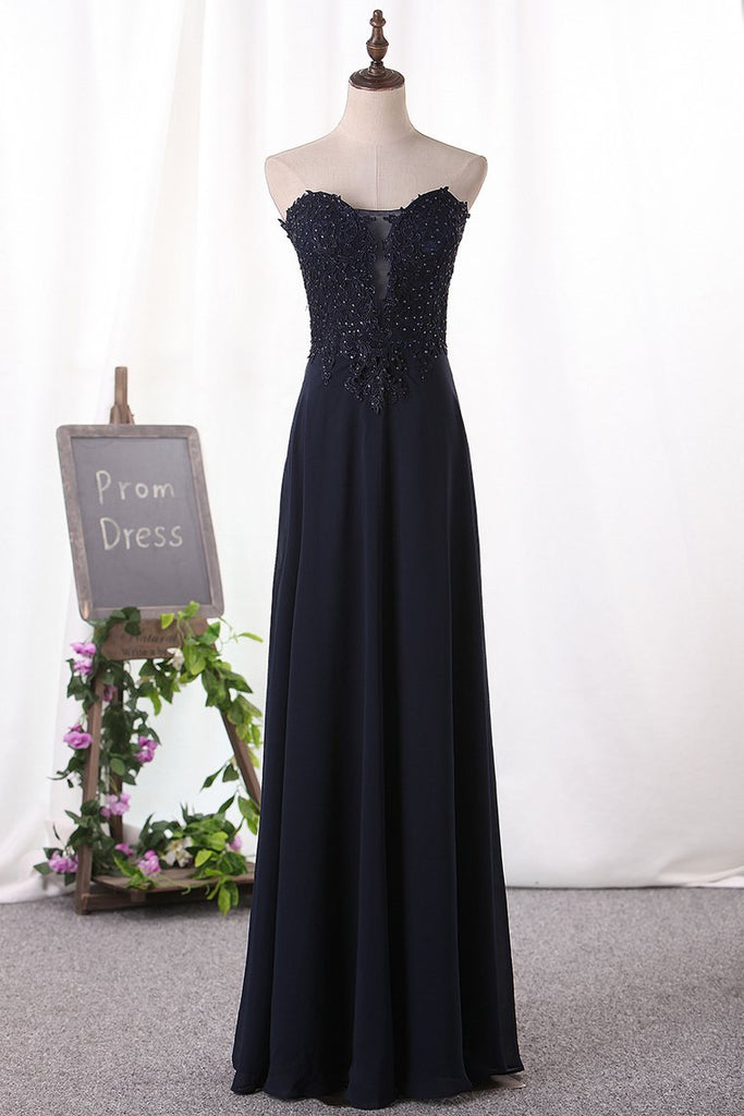 A Line Prom Dresses Chiffon Sweetheart With Applique Floor Length