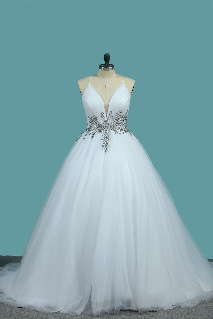 A Line Spaghetti Straps Wedding Dresses Tulle With Beads Open Back