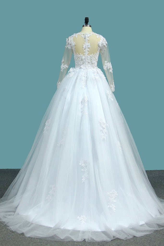 A Line V Neck Long Sleeves Wedding Dresses Tulle With Applique
