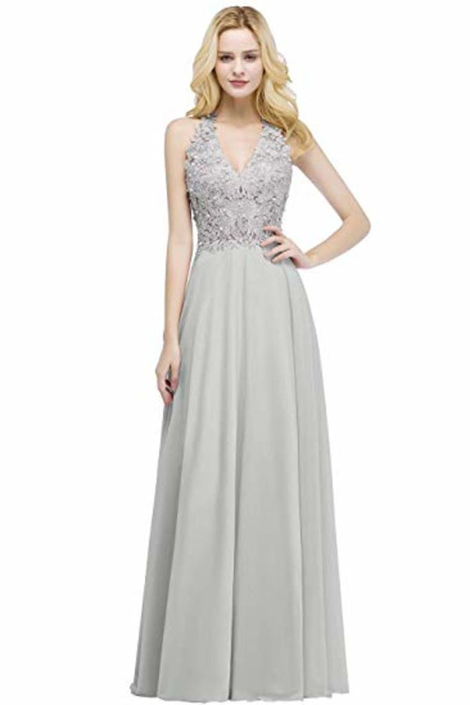 Lace Chiffon Prom Dresses Beading Applique A Line V Neck Evening Dresses