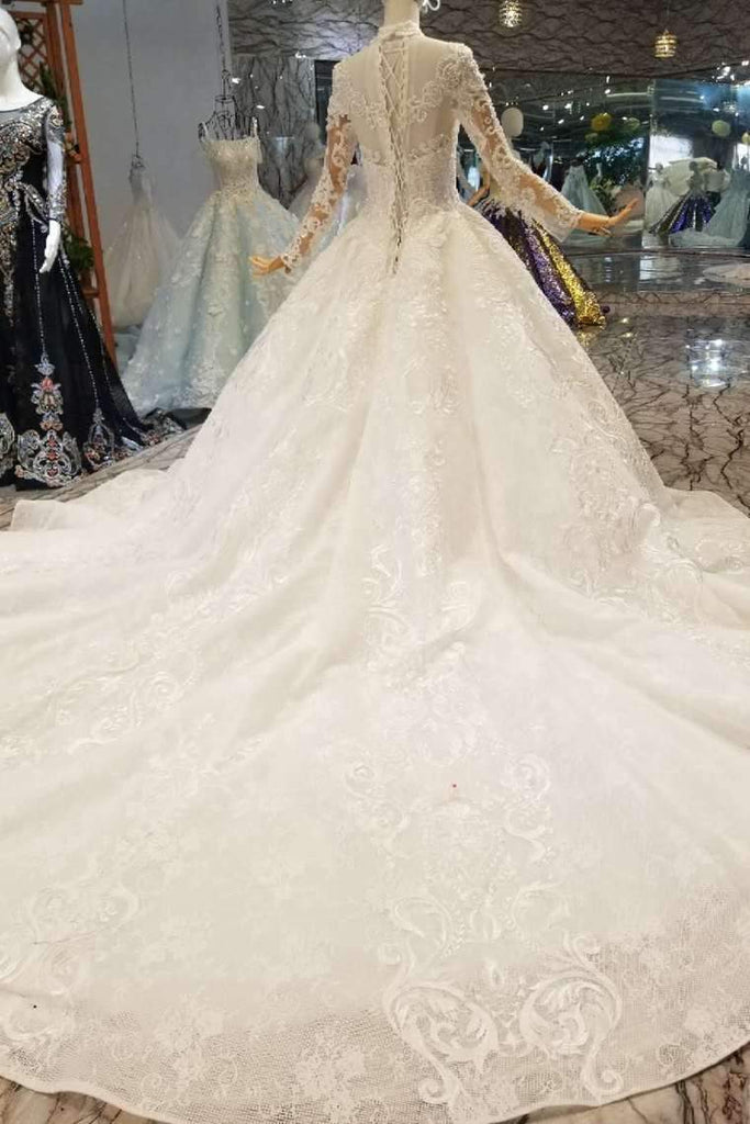 Ball Gown Wedding Dresses High Neck Long Sleeves A-Line Lace Up Back