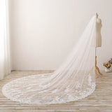Long Embroidered Lace Appliques Tulle Cathedral Veil for Wedding Wedding Veil JS869