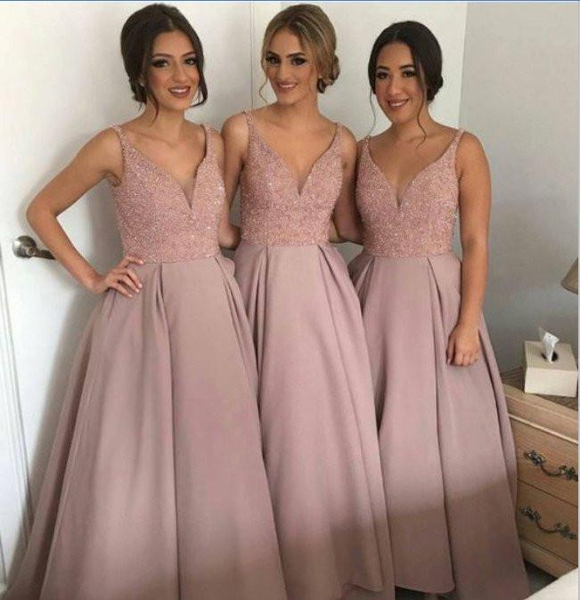 Dusty Rose Long Sleeveless A-line V-neck Open Back Beading Bridesmaid Dress BD2010